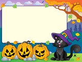 Autumn frame with Halloween cat theme 2