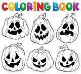 Coloring book with Halloween pumpkins 1