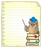Notebook page with owl teacher 2