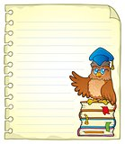 Notebook page with owl teacher 3