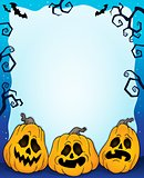 Outlined pumpkins Halloween frame 2