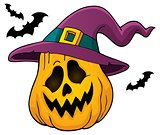 Pumpkin in witch hat theme image 1