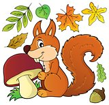 Squirrel with mushroom theme image 1
