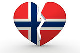 Broken white heart shape with Norway flag