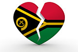 Broken white heart shape with Vanuatu flag