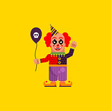 Scary clown for halloween in a flat style