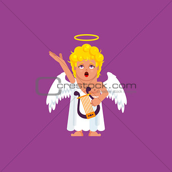 Angel with harp sings a song