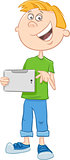 boy with tablet pc cartoon
