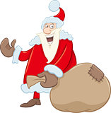 santa with sack cartoon