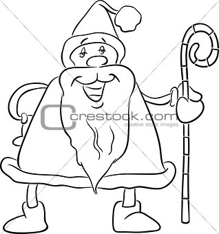 santa with cane coloring book