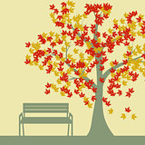 Autumn tree and benches, falling maple leaves, vector illustration