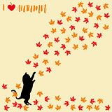 Cat and falling autumn leaves. Maple leaf, autumnal. Cats silhouettes.
