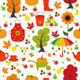 Seamless Autumn pattern, background. Set design element