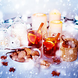 Christmas Decorations with Mulled Wine and Snow