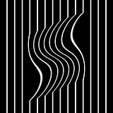 Striped wavy and straight lines.