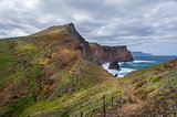 Madeira island hiking path in a beautiful volcanic landscape.