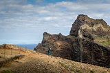 Tourists at the eastern cape, famous hiking trail of Madeira island