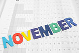 Colorful November  month on calendar paper