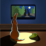 Brown dog howling watches TV back view Vector illustration