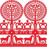 Seamless Polish folk art pattern Wycinanki Kurpiowskie - Kurpie Papercuts