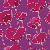 Abstract pink flowers seamless pattern