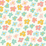 Cute little flowers seamless pattern. Vector illustration