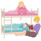 Mother reading a book to her children. Vector illustration isola