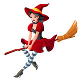 Woman in dark red Halloween costume of witch flying on broom. Cartoon style vector illustration isolated on white background.