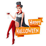 Brunette woman sitting with glass of wine in Dracula vampire Halloween costume and fangs. Cartoon style vector illustration with text isolated on white background.