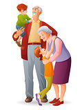 Happy grandparents with their cheerful grandchildren. Cartoon vector isolated illustration.