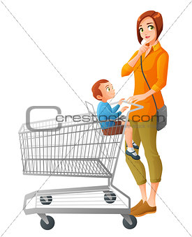 Thoughtful mother with son sitting in shopping cart. Vector illustration.