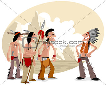 Four indians in prairie