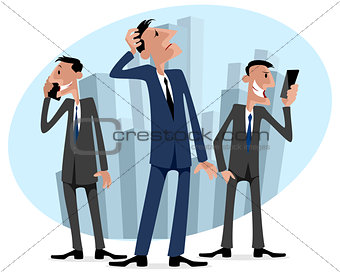 Three businessmen in the city