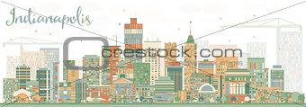 Abstract Indianapolis Skyline with Color Buildings.