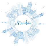 Outline Mumbai Skyline with Blue Landmarks.