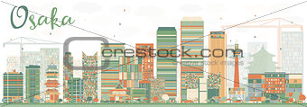 Abstract Osaka Skyline with Color Buildings.