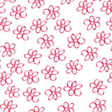 Seamless pattern with red watercolor flowers on white background