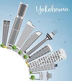 Yokohama Skyline with Gray Buildings, Blue Sky and Copy Space.