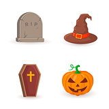 Grave, coffin, pumpkin and witch hat.
