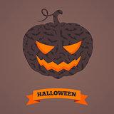 Spooky pumpkin with bats.