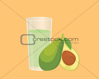 avocado smoothie with fruit and a glass of the smoothies with flat style