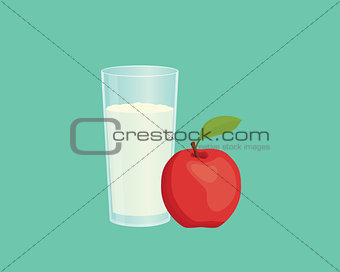apple smoothie with fruit and a glass of the smoothies with flat style