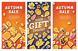 Autumn sale banner and gift voucher set.