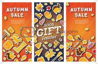Autumn sale banner and gift voucher set.