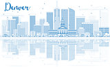 Outline Denver Skyline with Blue Buildings and Reflections.