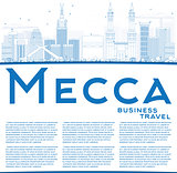 Outline Mecca Skyline with Blue Landmarks and Copy Space.