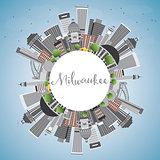 Milwaukee Skyline with Gray Buildings, Blue Sky and Copy Space.