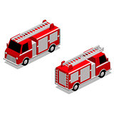Isometric firefighter truck