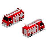 Isometric firefighter truck