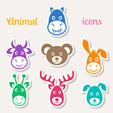 Colorful vector animal face icons